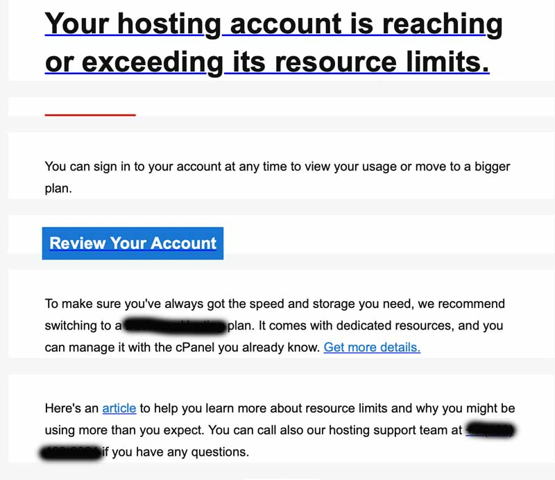 Hosting account exceeds resources email