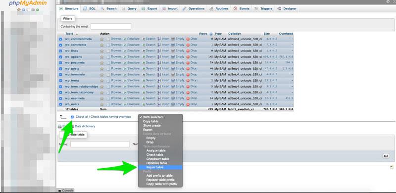 How to repair database tables in phpMyAdmin